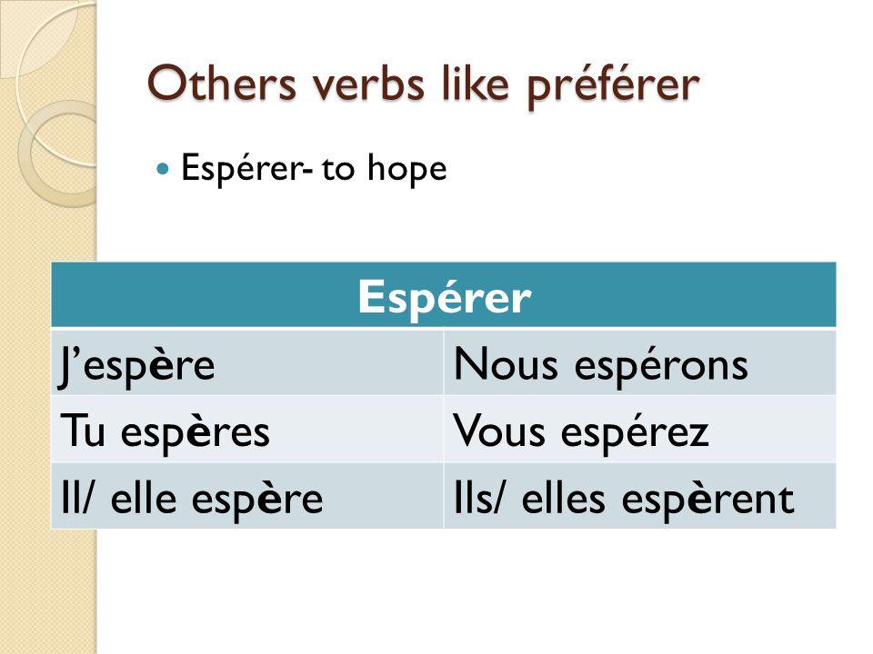 Others verbs like préférer Espérer- to hope Espérer JespèreNous espérons Tu espèresVous espérez Il/ elle espèreIls/ elles espèrent