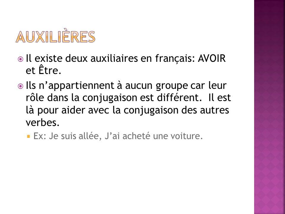Il existe deux auxiliaires en français: AVOIR et Être. Ils nappartiennent à aucun groupe car leur rôle dans la conjugaison est différent. Il est là po