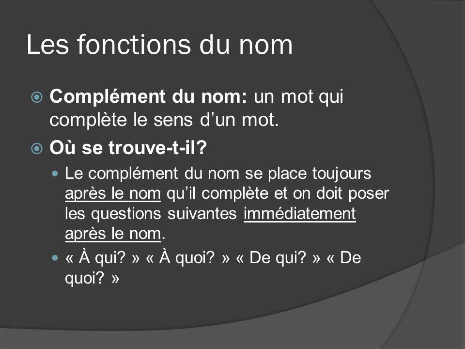 Les fonctions du nom Complément du nom: un mot qui complète le sens dun mot. Où se trouve-t-il? Le complément du nom se place toujours après le nom qu