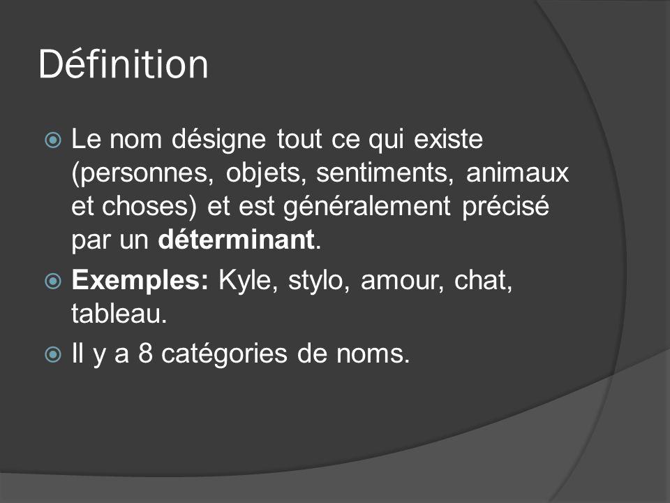 Définition Le nom désigne tout ce qui existe (personnes, objets, sentiments, animaux et choses) et est généralement précisé par un déterminant. Exempl