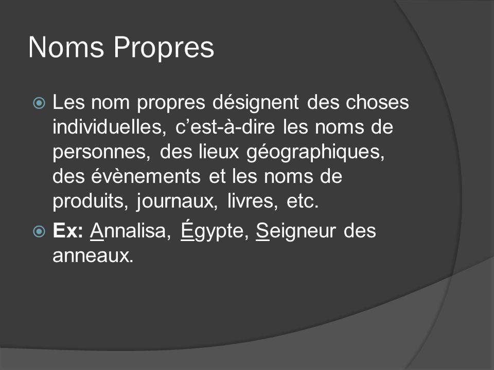 Noms Propres Les nom propres désignent des choses individuelles, cest-à-dire les noms de personnes, des lieux géographiques, des évènements et les noms de produits, journaux, livres, etc.