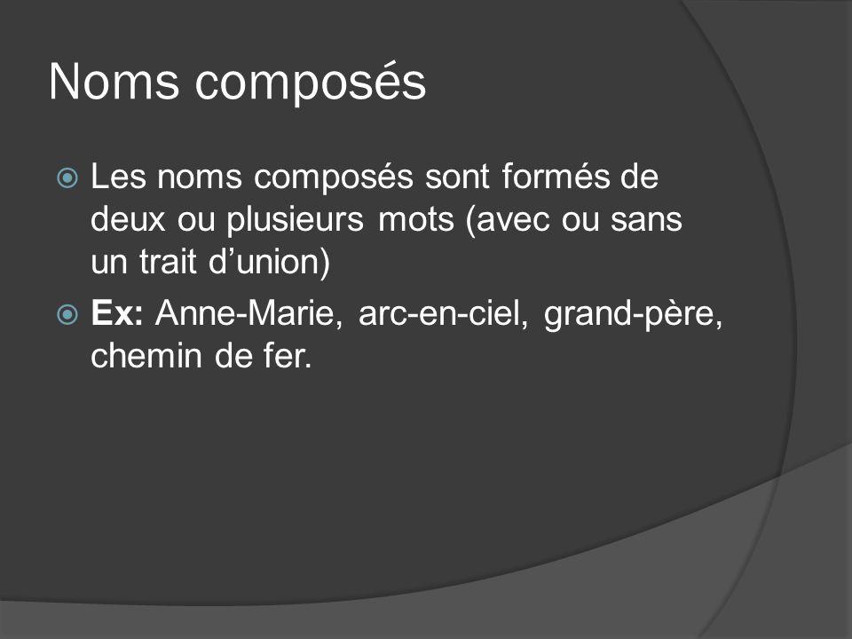 Noms composés Les noms composés sont formés de deux ou plusieurs mots (avec ou sans un trait dunion) Ex: Anne-Marie, arc-en-ciel, grand-père, chemin de fer.