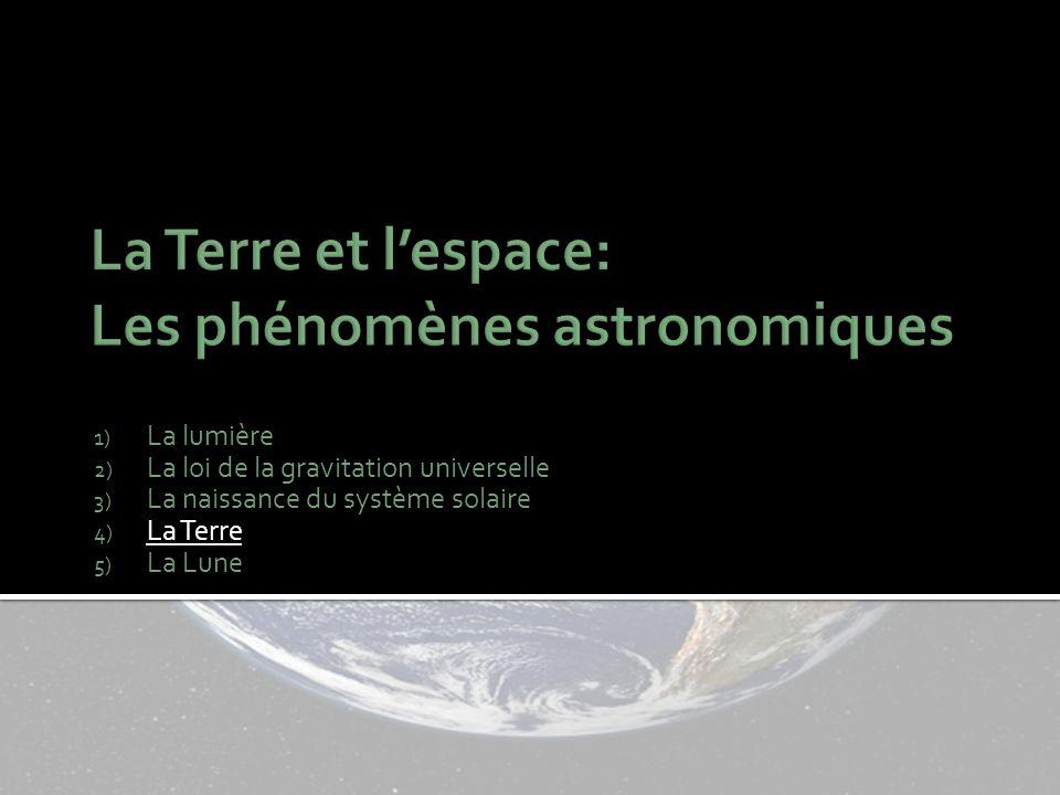 1) La lumière 2) La loi de la gravitation universelle 3) La naissance du système solaire 4) La Terre 5) La Lune