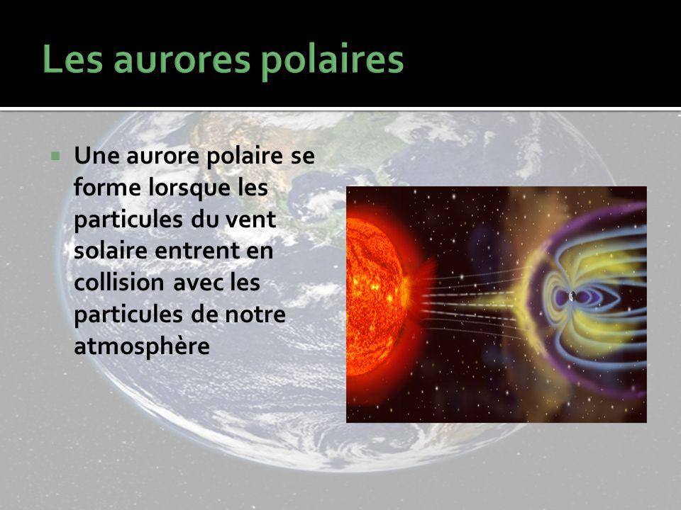 Une aurore polaire se forme lorsque les particules du vent solaire entrent en collision avec les particules de notre atmosphère