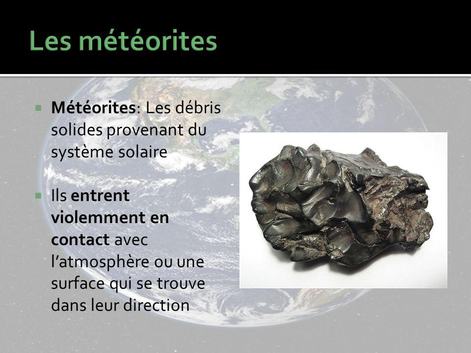 Météorites: Les débris solides provenant du système solaire Ils entrent violemment en contact avec latmosphère ou une surface qui se trouve dans leur direction