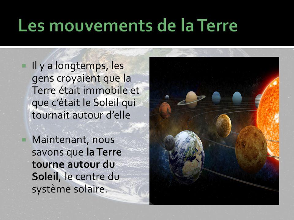 Il y a longtemps, les gens croyaient que la Terre était immobile et que cétait le Soleil qui tournait autour delle Maintenant, nous savons que la Terre tourne autour du Soleil, le centre du système solaire.