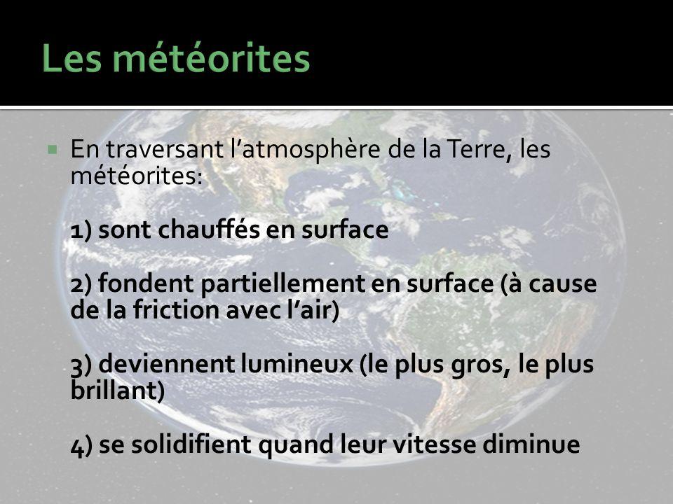 En traversant latmosphère de la Terre, les météorites: 1) sont chauffés en surface 2) fondent partiellement en surface (à cause de la friction avec lair) 3) deviennent lumineux (le plus gros, le plus brillant) 4) se solidifient quand leur vitesse diminue