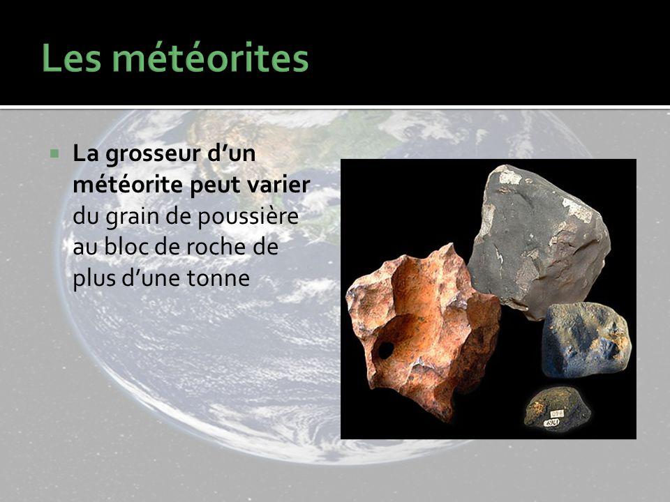 La grosseur dun météorite peut varier du grain de poussière au bloc de roche de plus dune tonne