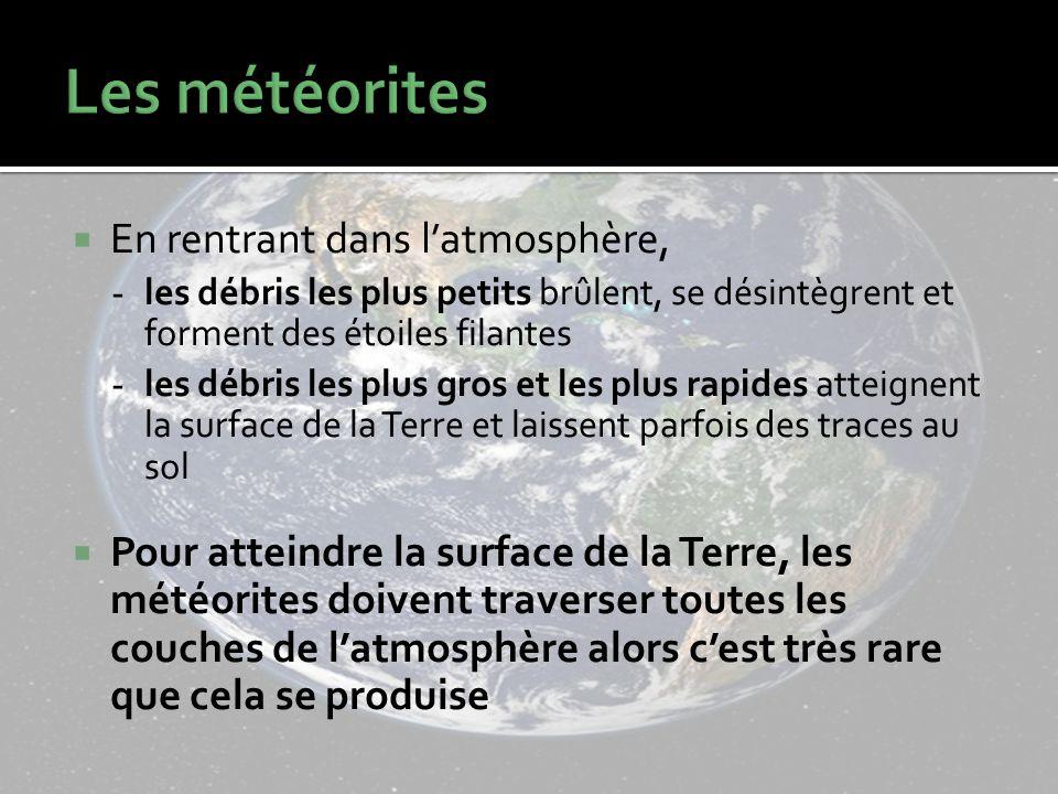 En rentrant dans latmosphère, - les débris les plus petits brûlent, se désintègrent et forment des étoiles filantes - les débris les plus gros et les plus rapides atteignent la surface de la Terre et laissent parfois des traces au sol Pour atteindre la surface de la Terre, les météorites doivent traverser toutes les couches de latmosphère alors cest très rare que cela se produise
