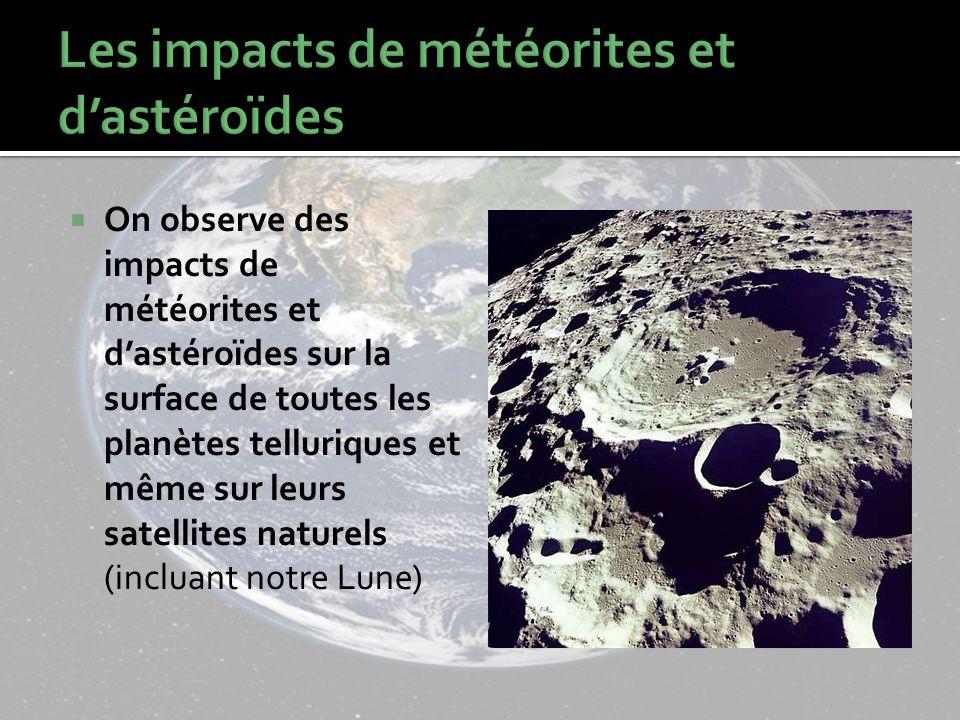 On observe des impacts de météorites et dastéroïdes sur la surface de toutes les planètes telluriques et même sur leurs satellites naturels (incluant notre Lune)