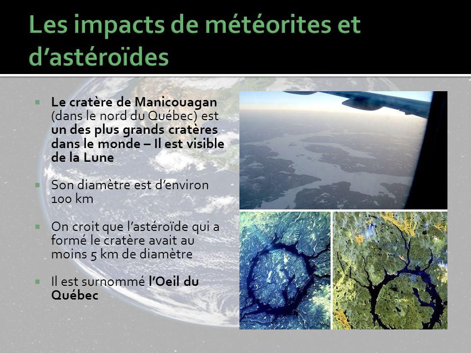Le cratère de Manicouagan (dans le nord du Québec) est un des plus grands cratères dans le monde – Il est visible de la Lune Son diamètre est denviron 100 km On croit que lastéroïde qui a formé le cratère avait au moins 5 km de diamètre Il est surnommé lOeil du Québec