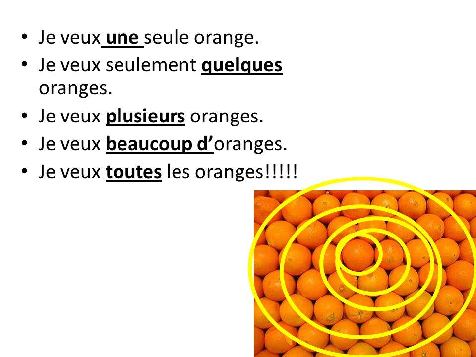 Je veux une seule orange.Je veux seulement quelques oranges.