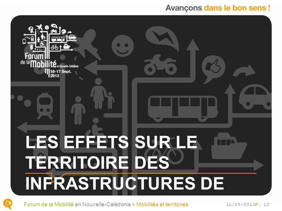 LES EFFETS SUR LE TERRITOIRE DES INFRASTRUCTURES DE TRANSPORT P. 10 Forum de la Mobilité en Nouvelle-Calédonie > Mobilités et territoires 16/09/2013