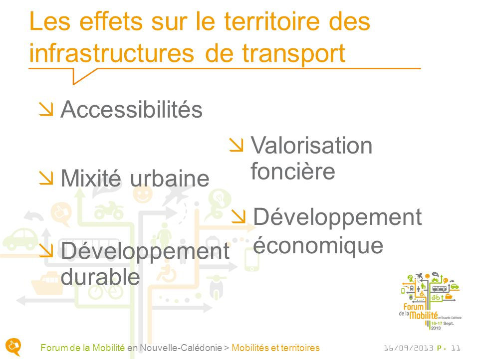 Les effets sur le territoire des infrastructures de transport Valorisation foncière P. 11 Forum de la Mobilité en Nouvelle-Calédonie > Mobilités et te