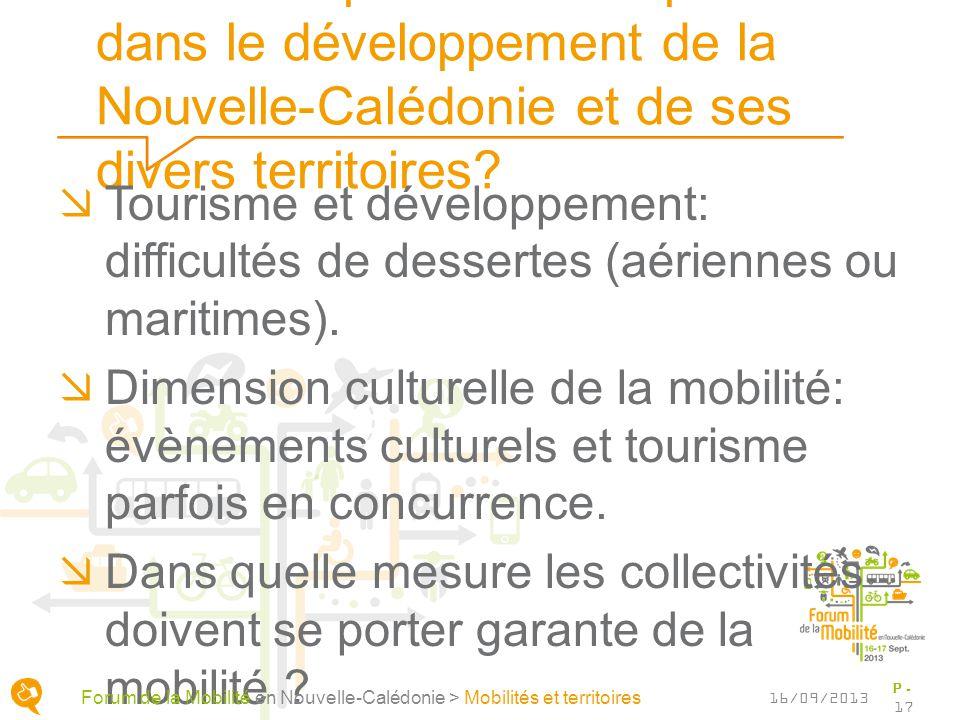 Quels rôles pour les transports dans le développement de la Nouvelle-Calédonie et de ses divers territoires? Tourisme et développement: difficultés de