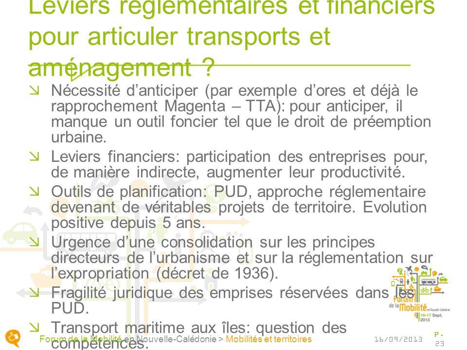 Leviers réglementaires et financiers pour articuler transports et aménagement .
