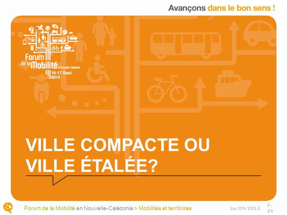VILLE COMPACTE OU VILLE ÉTALÉE? P. 24 Forum de la Mobilité en Nouvelle-Calédonie > Mobilités et territoires 16/09/2013
