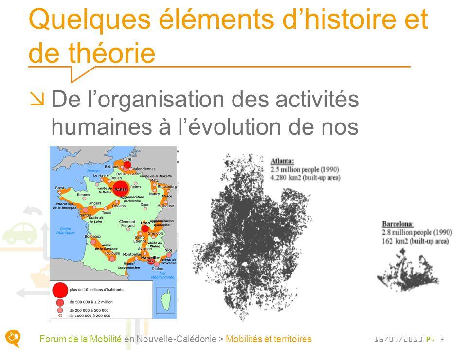 Quelques éléments dhistoire et de théorie De lorganisation des activités humaines à lévolution de nos moyens de déplacements P. 4 Forum de la Mobilité