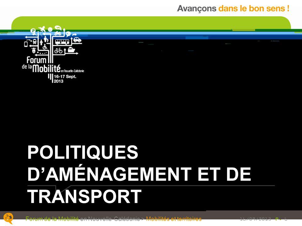 POLITIQUES DAMÉNAGEMENT ET DE TRANSPORT P. 6 Forum de la Mobilité en Nouvelle-Calédonie > Mobilités et territoires 16/09/2013