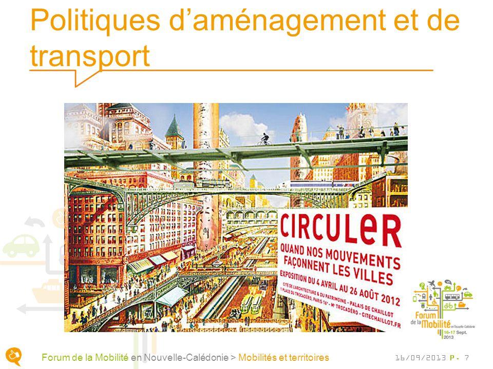 Politiques daménagement et de transport P. 7 Forum de la Mobilité en Nouvelle-Calédonie > Mobilités et territoires 16/09/2013