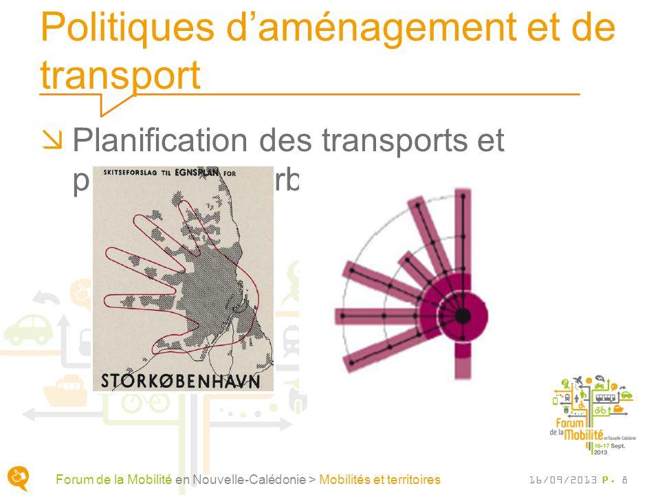 Politiques daménagement et de transport Planification des transports et planification urbaine P. 8 Forum de la Mobilité en Nouvelle-Calédonie > Mobili