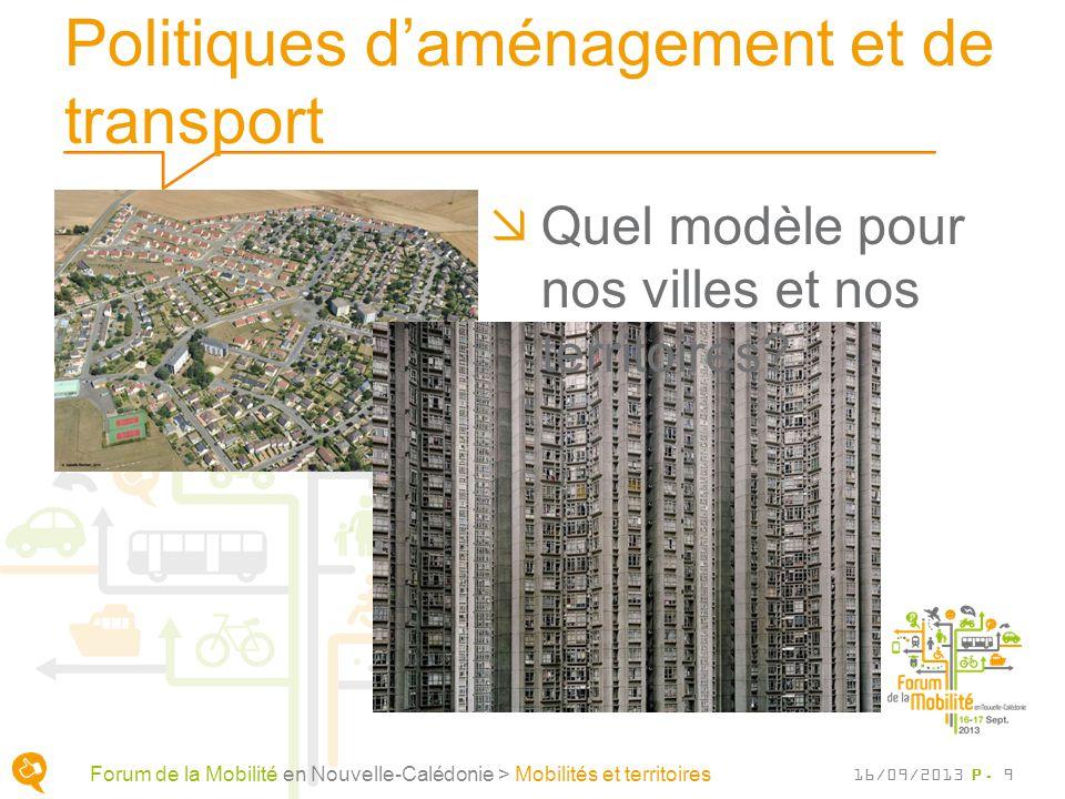 Politiques daménagement et de transport P. 9 Quel modèle pour nos villes et nos territoires? Forum de la Mobilité en Nouvelle-Calédonie > Mobilités et