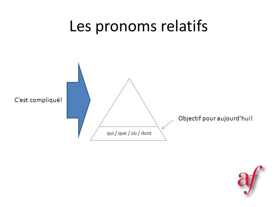 Les pronoms relatifs Objectif pour aujourdhui! qui / que / où / dont Cest compliqué!