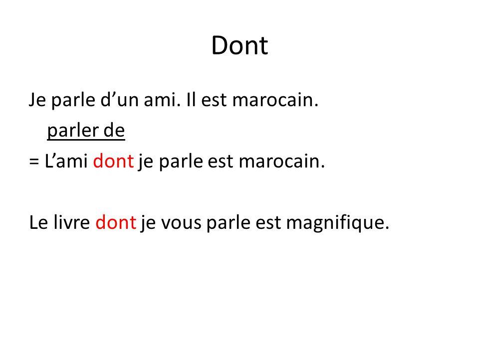 Dont Je parle dun ami. Il est marocain. parler de = Lami dont je parle est marocain. Le livre dont je vous parle est magnifique.