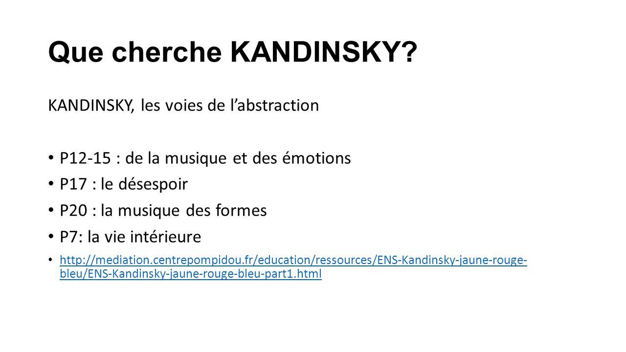 Que cherche KANDINSKY? KANDINSKY, les voies de labstraction P12-15 : de la musique et des émotions P17 : le désespoir P20 : la musique des formes P7: