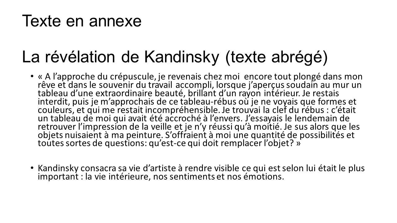 Texte en annexe La révélation de Kandinsky (texte abrégé) « A lapproche du crépuscule, je revenais chez moi encore tout plongé dans mon rêve et dans l