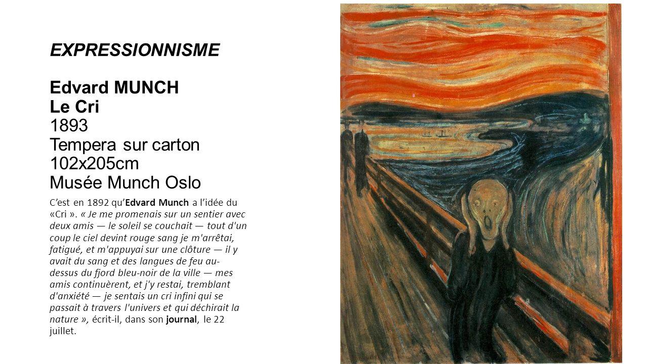 EXPRESSIONNISME Edvard MUNCH Le Cri 1893 Tempera sur carton 102x205cm Musée Munch Oslo Cest en 1892 quEdvard Munch a lidée du «Cri ». « Je me promenai
