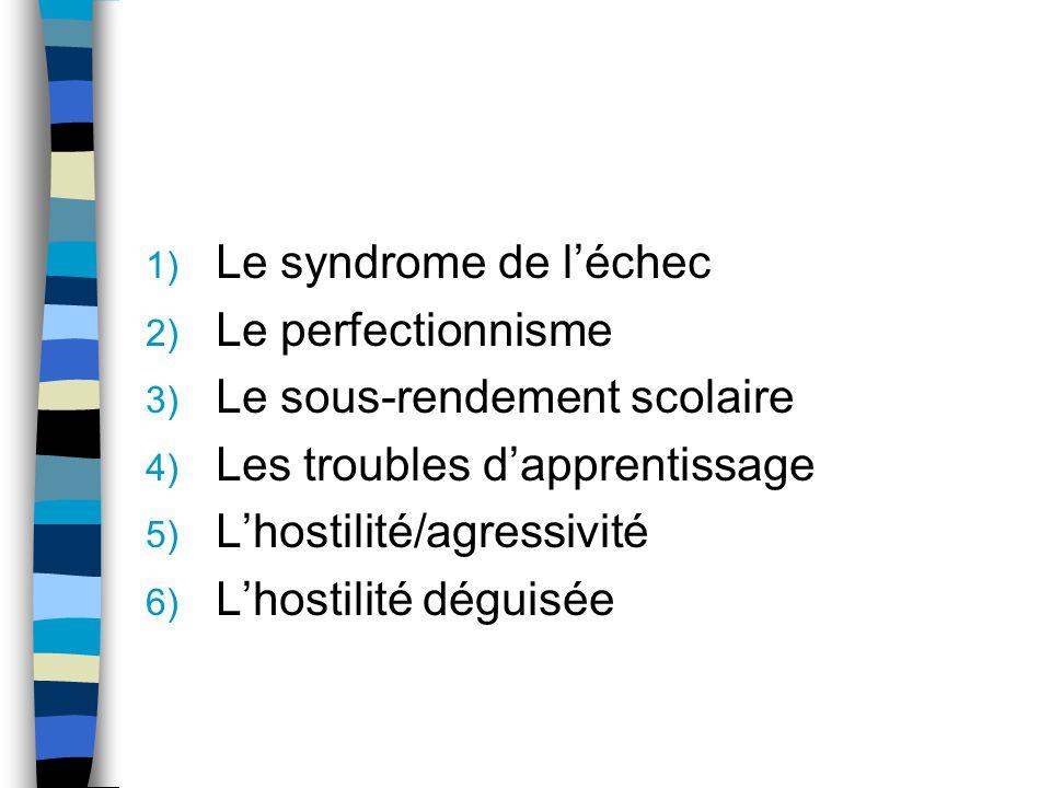 1) Le syndrome de léchec 2) Le perfectionnisme 3) Le sous-rendement scolaire 4) Les troubles dapprentissage 5) Lhostilité/agressivité 6) Lhostilité dé
