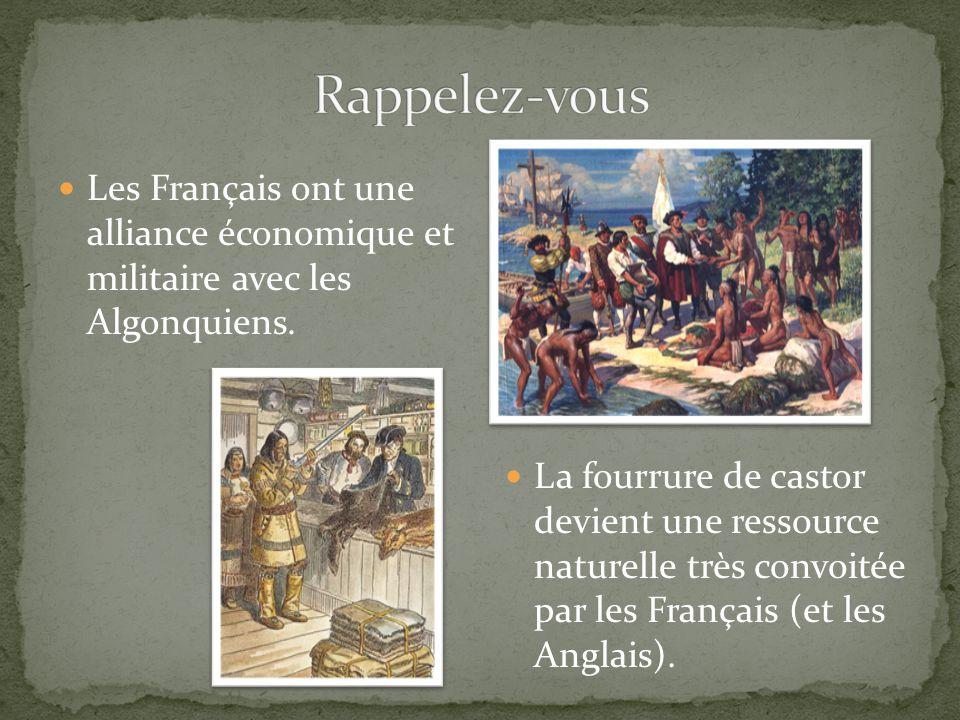 Les Français ont une alliance économique et militaire avec les Algonquiens. La fourrure de castor devient une ressource naturelle très convoitée par l