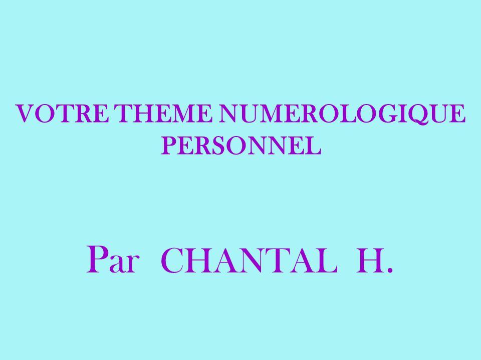 VOTRE THEME NUMEROLOGIQUE PERSONNEL Par CHANTAL H.