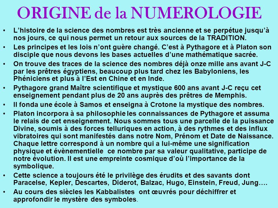 ORIGINE de la NUMEROLOGIE Lhistoire de la science des nombres est très ancienne et se perpétue jusquà nos jours, ce qui nous permet un retour aux sour