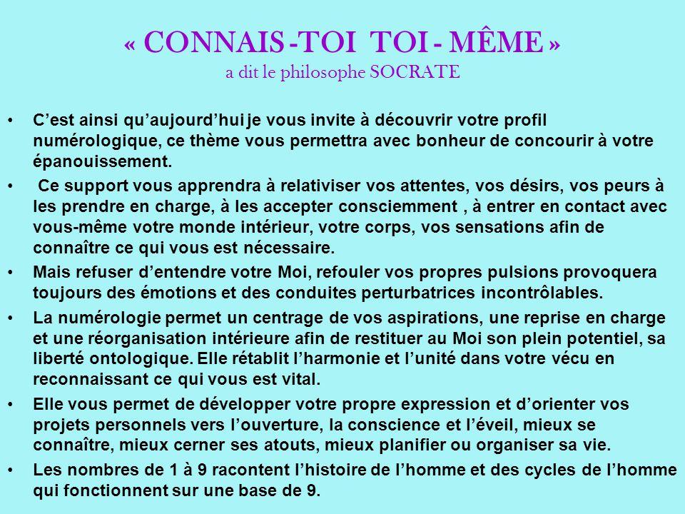« CONNAIS -TOI TOI - MÊME » a dit le philosophe SOCRATE Cest ainsi quaujourdhui je vous invite à découvrir votre profil numérologique, ce thème vous p