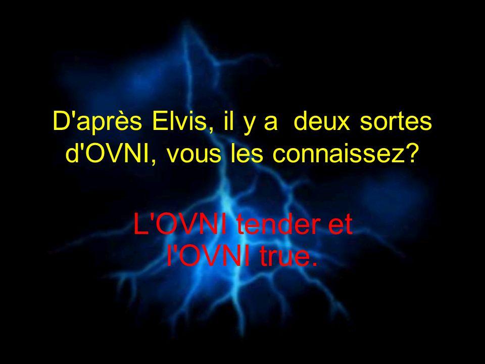 D'après Elvis, il y a deux sortes d'OVNI, vous les connaissez? L'OVNI tender et l'OVNI true.