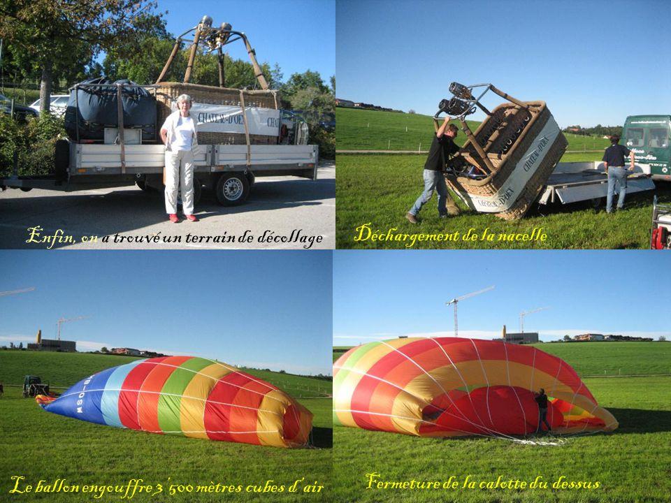 Enfin, on a trouvé un terrain de décollage Déchargement de la nacelle Le ballon engouffre 3500 mètres cubes dair Fermeture de la calotte du dessus