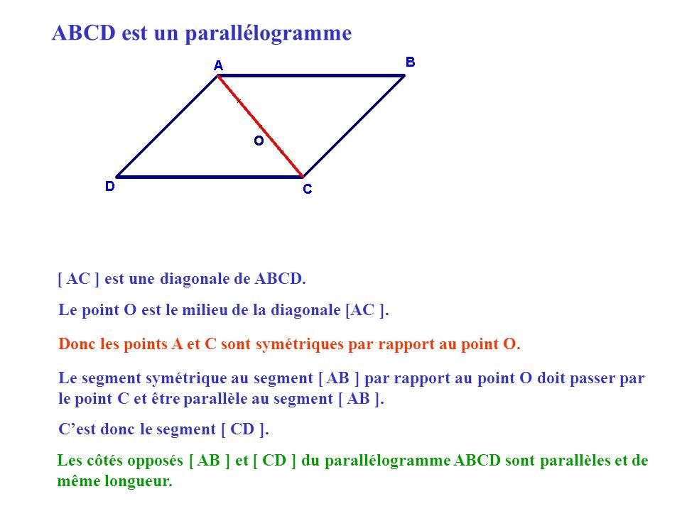 [ AC ] est une diagonale de ABCD.Le point O est le milieu de la diagonale [AC ].