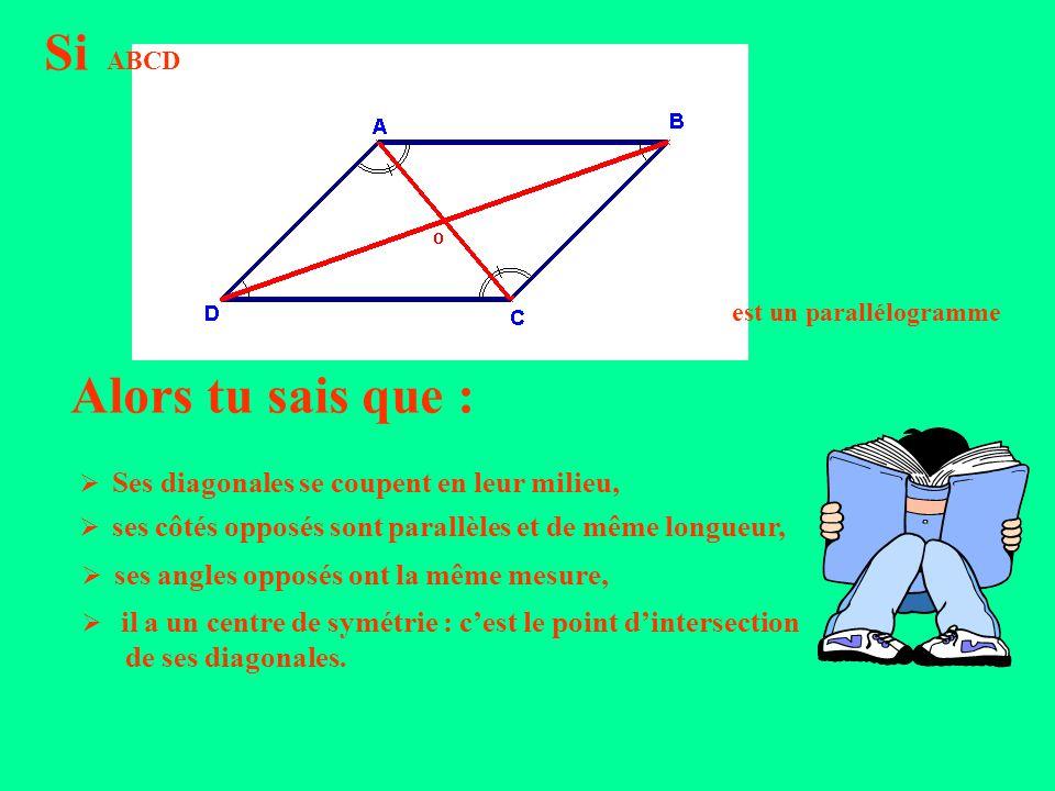 Si ABCD est un parallélogramme Alors tu sais que : Ses diagonales se coupent en leur milieu, ses côtés opposés sont parallèles et de même longueur, ses angles opposés ont la même mesure, il a un centre de symétrie : cest le point dintersection de ses diagonales.
