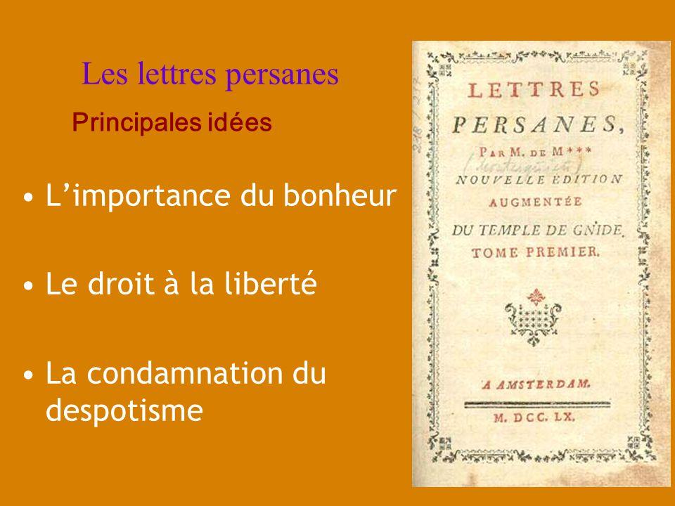 Les lettres persanes Limportance du bonheur Le droit à la liberté La condamnation du despotisme Principales idées