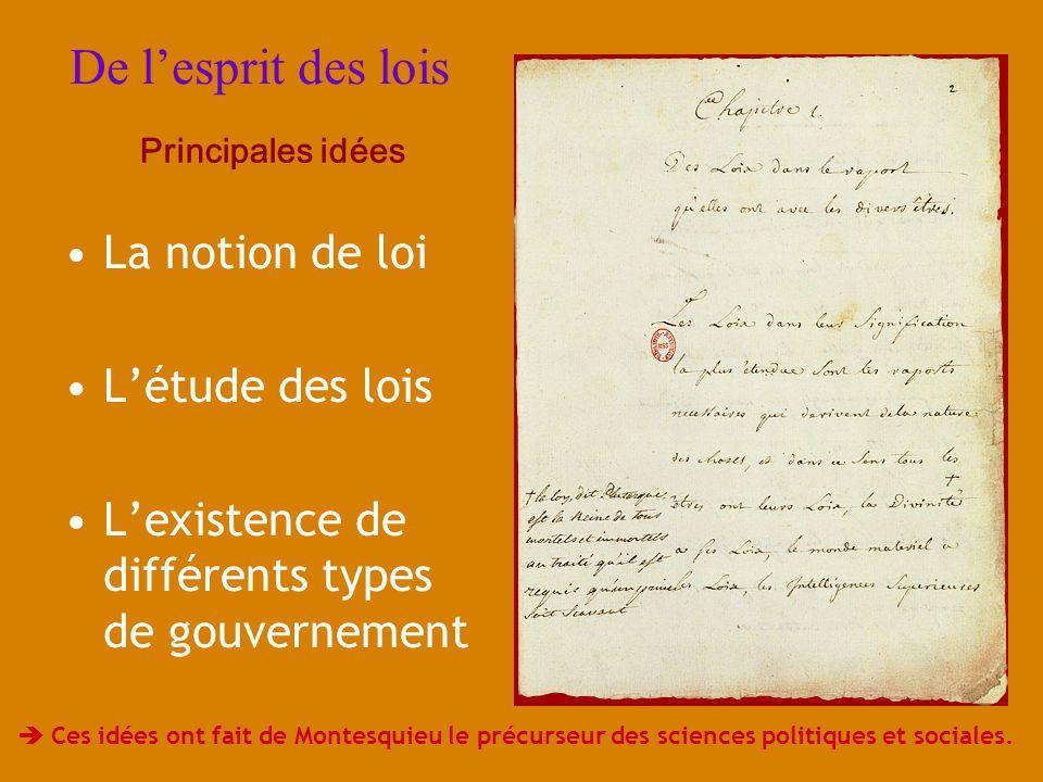 De lesprit des lois La notion de loi Létude des lois Lexistence de différents types de gouvernement Principales idées Ces idées ont fait de Montesquie