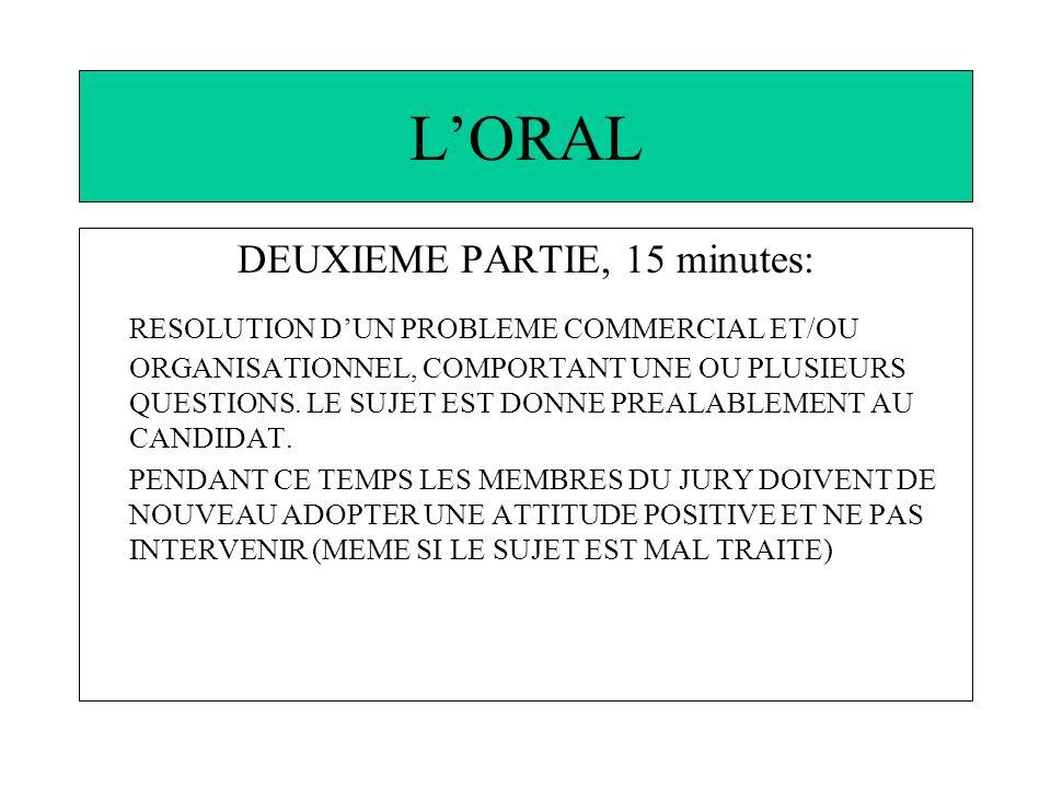 LORAL DEUXIEME PARTIE, 15 minutes: RESOLUTION DUN PROBLEME COMMERCIAL ET/OU ORGANISATIONNEL, COMPORTANT UNE OU PLUSIEURS QUESTIONS.