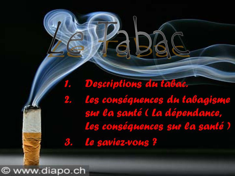1.Descriptions du tabac. 2.Les conséquences du tabagisme sur la santé ( La dépendance, Les conséquences sur la santé ) 3.Le saviez-vous ?