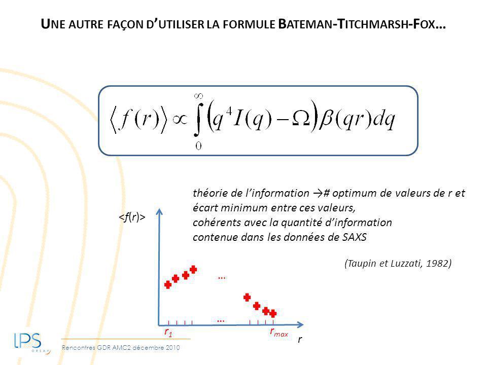 Rencontres GDR AMC2 décembre 2010 U NE AUTRE FAÇON D UTILISER LA FORMULE B ATEMAN -T ITCHMARSH -F OX … r théorie de linformation # optimum de valeurs