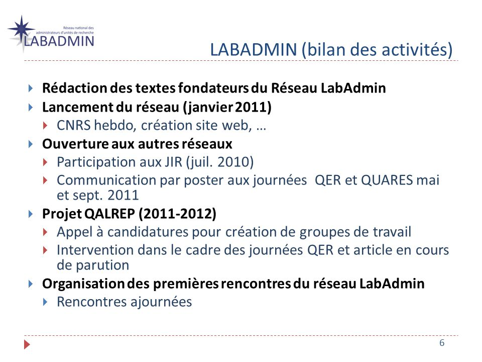 LABADMIN (bilan des activités) Rédaction des textes fondateurs du Réseau LabAdmin Lancement du réseau (janvier 2011) CNRS hebdo, création site web, … Ouverture aux autres réseaux Participation aux JIR (juil.