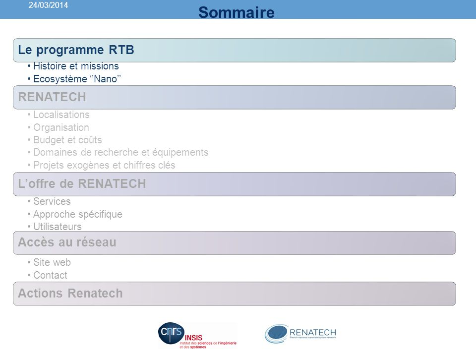 Historique : le programme RTB 2003: Lancement du programme national RTB Recherche en technologies de Base Doter la France dune infrastructure capable de répondre de façon performante et au meilleur coût possible aux besoins de recherche de linnovation en micro et nanotechnologies porté par le CNRS et le CEA CNRS: 6 centrales réparties sur toute la France GIS RENATECH Infracstructure académiques de taille moyenne (900 1500 m² de salle blanches) CEA: 1 centre (Leti) ) à Grenoble Très grande infrastructure (wafer de 200 à 300 mm) dédiée à linnovation et au transfert vers lindustrie 24/03/2014