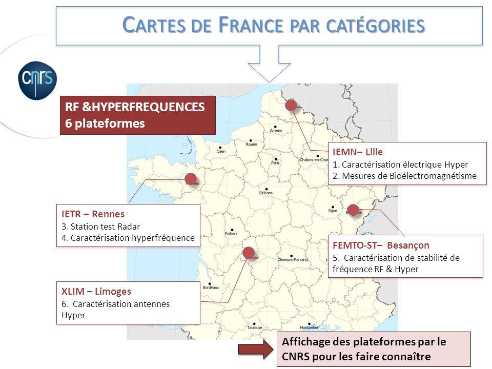 C ARTES DE F RANCE PAR CATÉGORIES RF &HYPERFREQUENCES 6 plateformes IETR – Rennes 3. Station test Radar 4. Caractérisation hyperfréquence IEMN– Lille