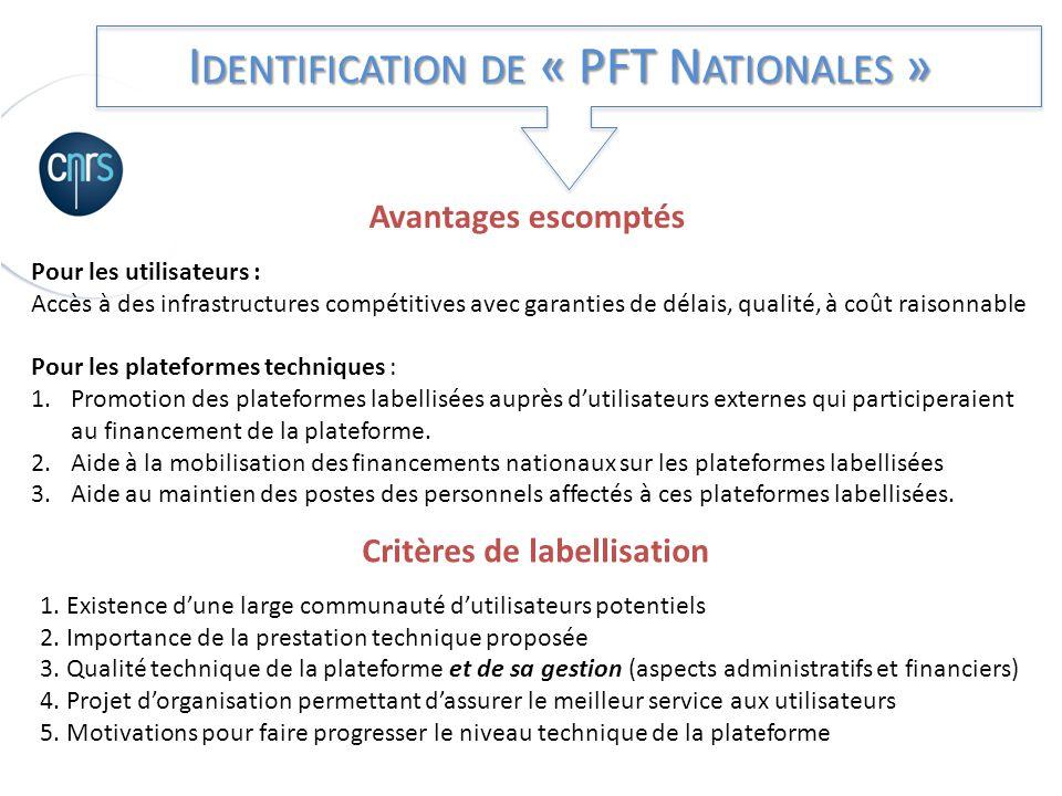 I DENTIFICATION DE « PFT N ATIONALES » Critères de labellisation 1. Existence dune large communauté dutilisateurs potentiels 2. Importance de la prest