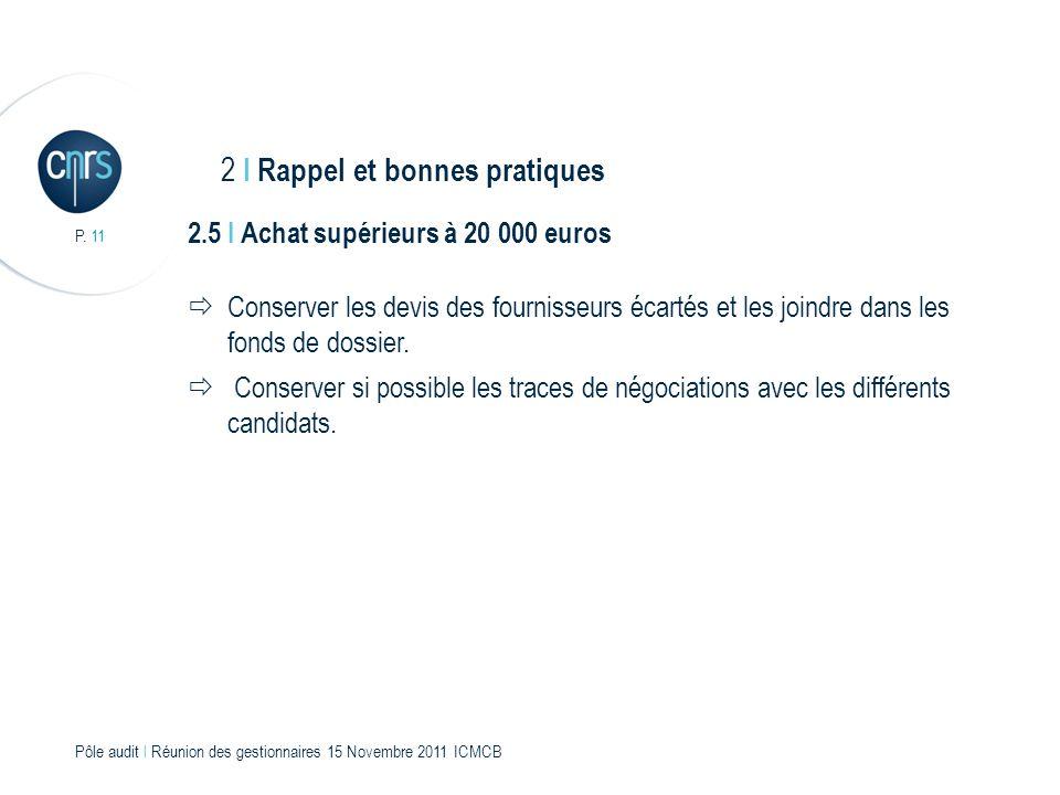 P. 11 Pôle audit l Réunion des gestionnaires 15 Novembre 2011 ICMCB 2.5 I Achat supérieurs à 20 000 euros Conserver les devis des fournisseurs écartés